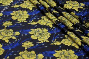 Ткань тафта жаккард «китайская роза» цвет тёмно-синий желтые цветы