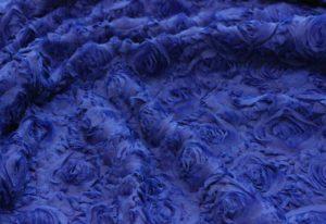 Ткань сетка роза крупная цвет васильковый
