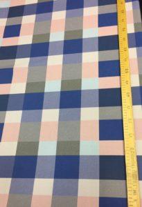 Ткань габардин принт клетка розовый/голубой