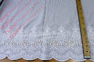 Ткань хлопок полоска вышивка купон  цвет белый/чёрный