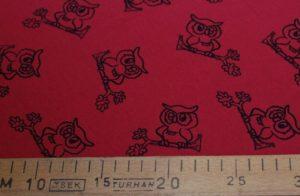 Ткань футер совы на красном