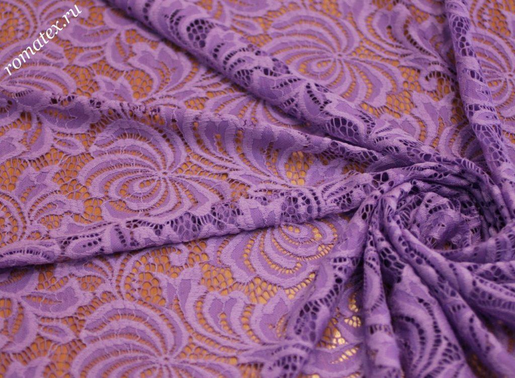 Ткань гипюр ds цвет сиреневый