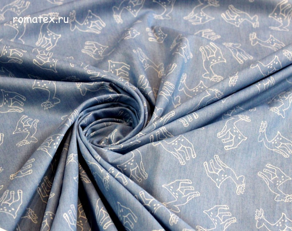 Ткань джинс олени светло-синий
