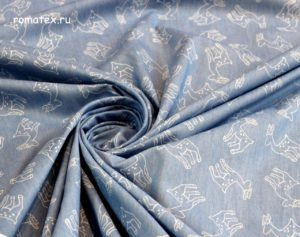Ткань джинс олени цвет светло-синий