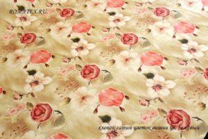 Ткань сатин цветок вишни