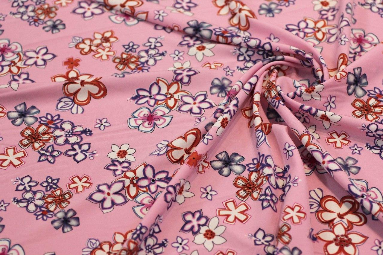 Ткань супер софт цветок цвет розовый