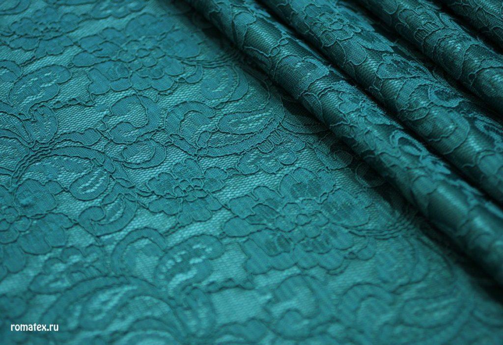 Ткань гипюр на трикотаже цвет бирюзовый