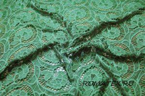 Ткань кружево  гипюр f цвет тёмно-зелёный
