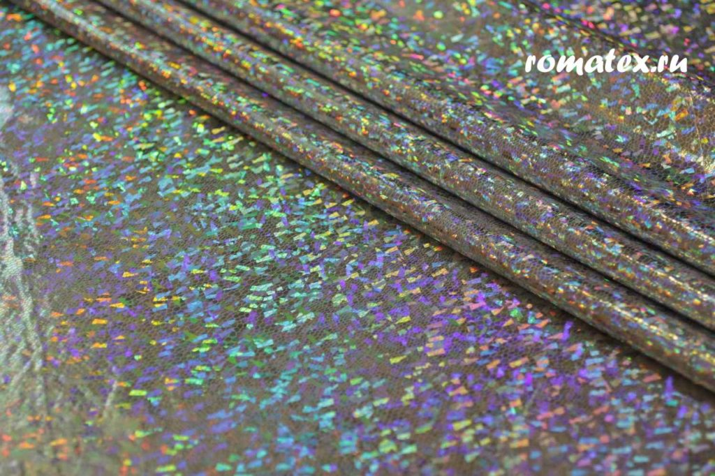 Ткань голограмма стрейч цвет серебро плотность 230гр/м