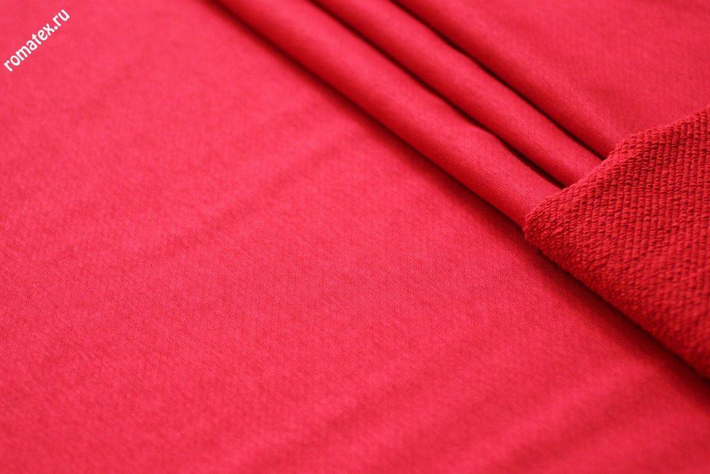 Ткань футер 3-х нитка петля качество компак пенье цвет красный