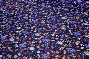 Ткань плательный креп шифон цветы темно-синий