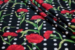 Ткань для постельного белья твил принт d6 чёрный