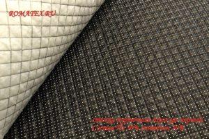 Ткань курточная стежка горох цвет чёрный мелкая клетка