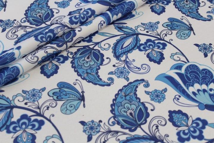 Ткань футер гжель бабочки качество компакпенье
