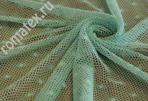 Ткань сетка «ажур» цвет мятный