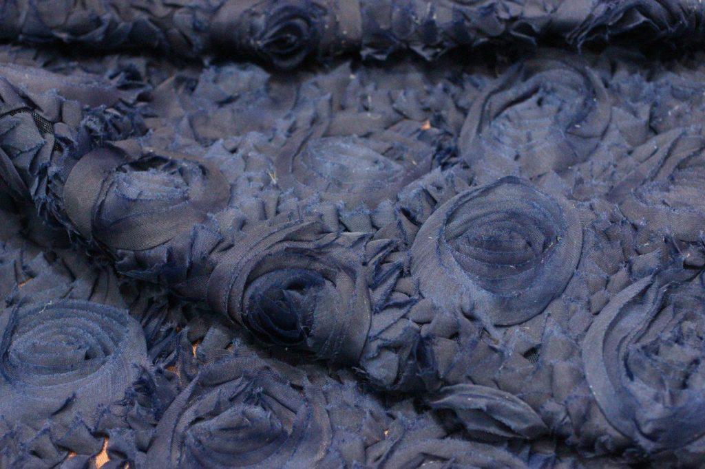 Ткань сетка роза крупная цвет темно-синий