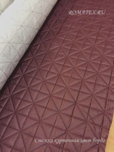 Ткань с холлофайбером стежка горох цвет бордовый