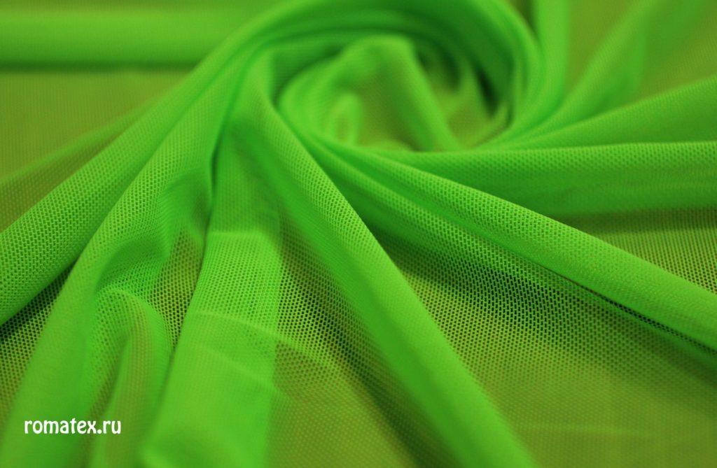 Ткань сетка трикотажная цвет зелёное яблоко