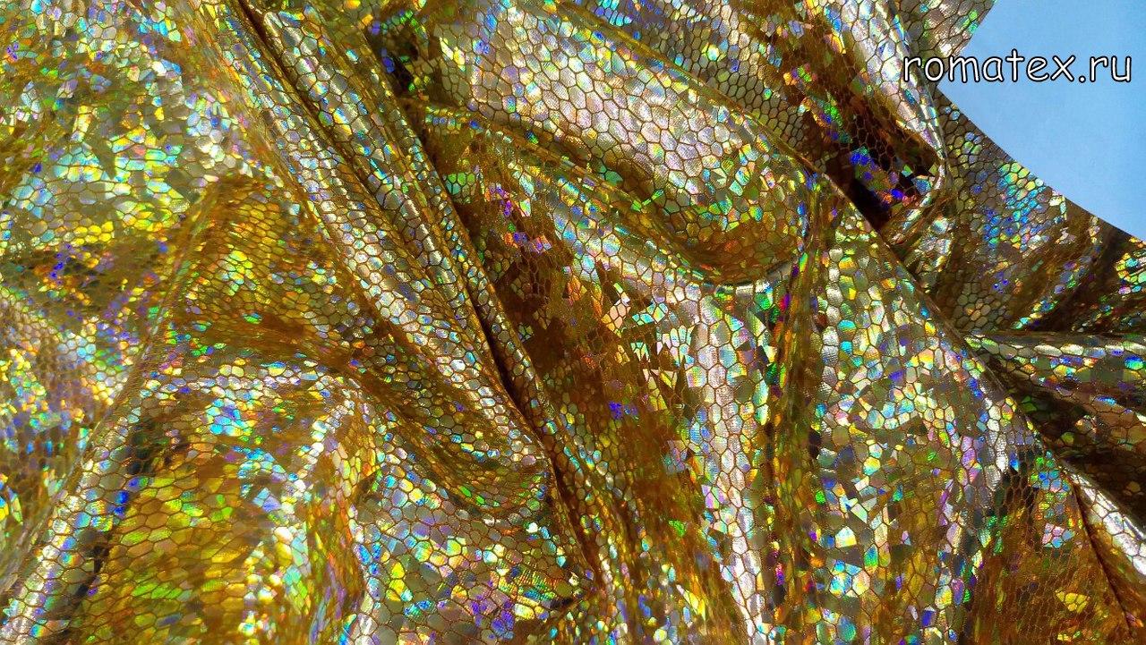 Ткань голограмма стрейч цвет золото