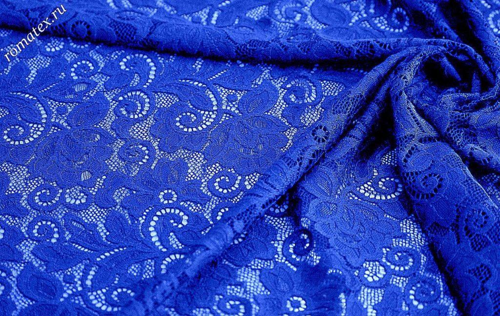 Ткань гипюр dl цвет васильковый