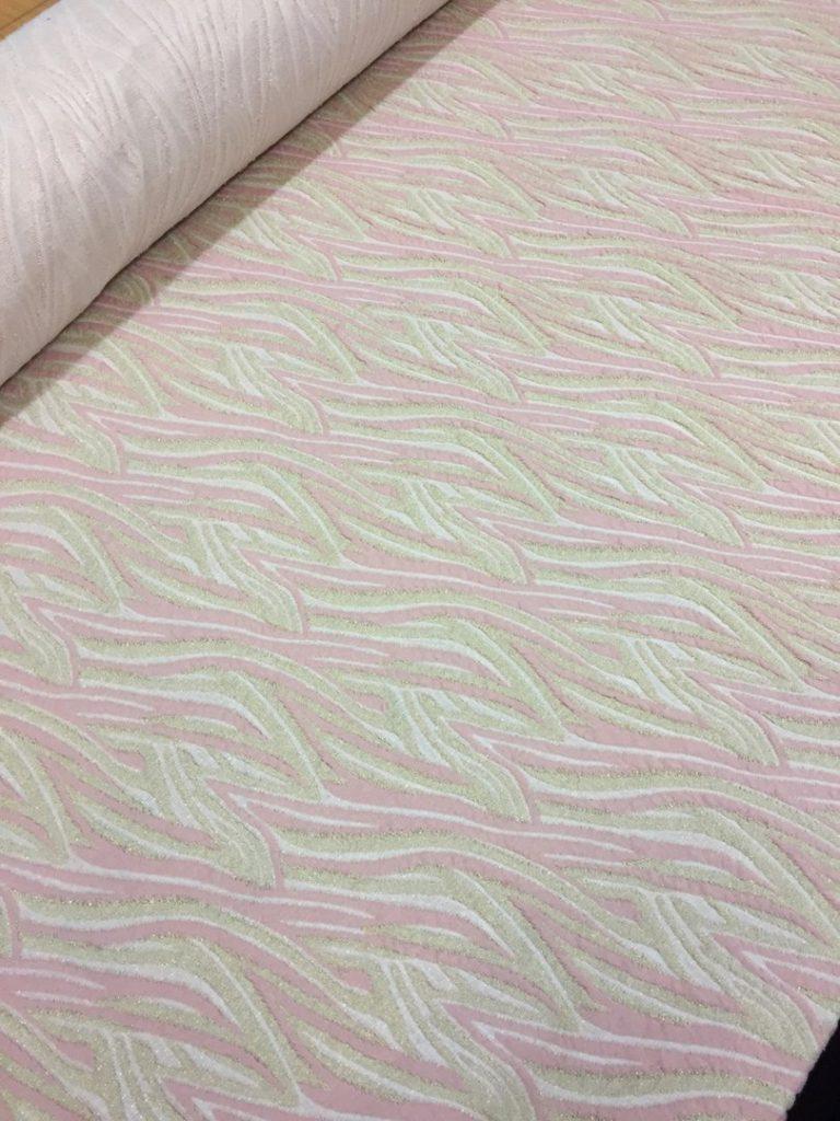 Ткань трикотаж с люрексом цвет розовый с золотом