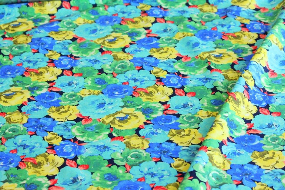 Ткань хлопок плательный роза цвет бирюзовый