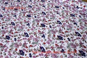 Ткань плательный креп шифон цветы на белом