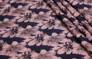 Ткань тафта жаккард «азалия» цвет тёмно-синий