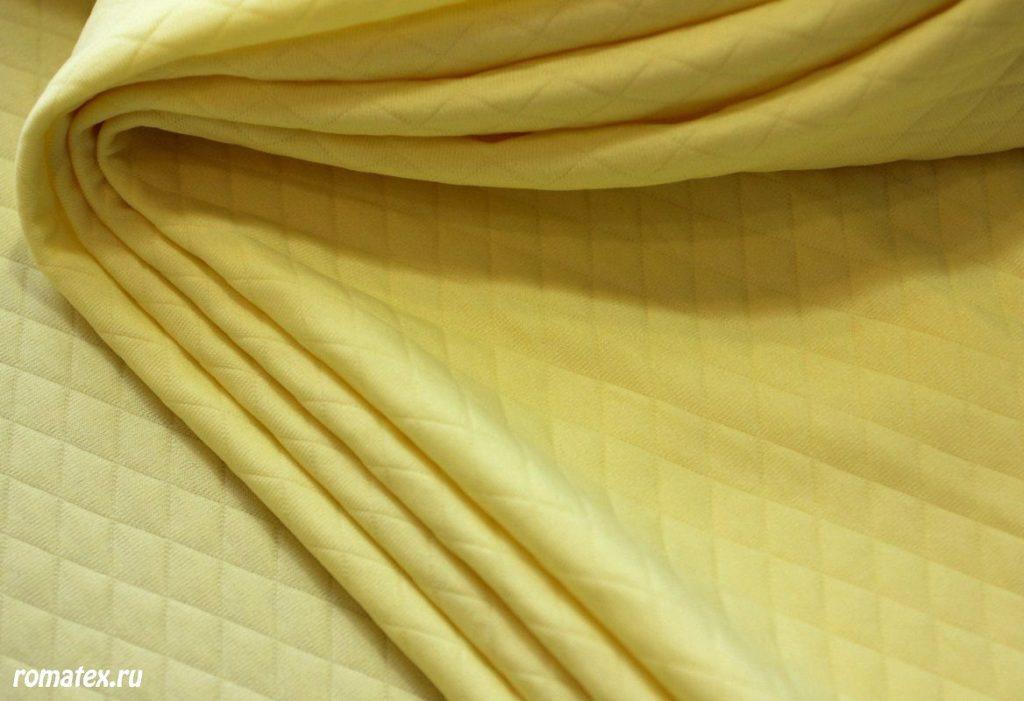 Ткань трикотаж стежка ромб цвет жёлтый