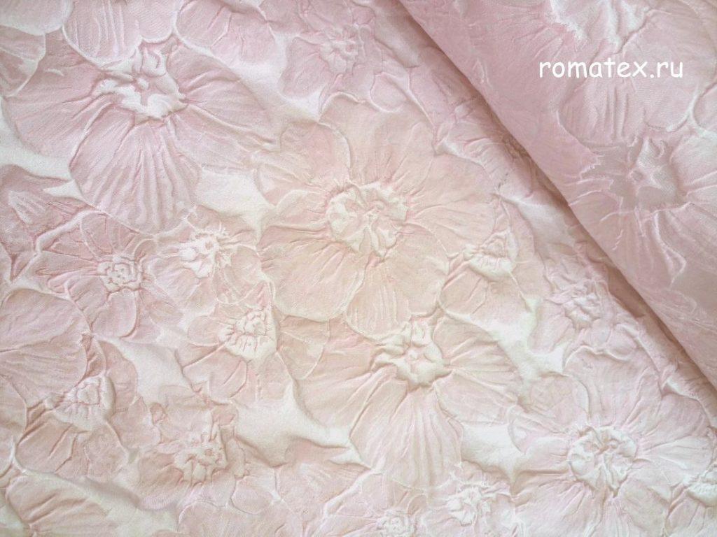 Ткань жаккард тафта розовая