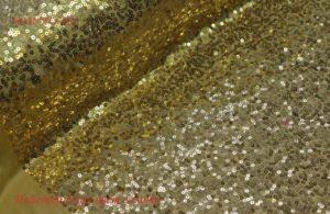 Ткань пайетки джаз на трикотаже цвет золотой