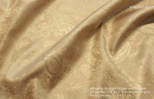 Ткань подкладочная жаккард огурцы цвет бежевый