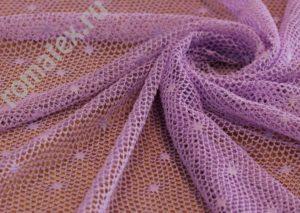 Ткань сетка «ажур» цвет сиреневый