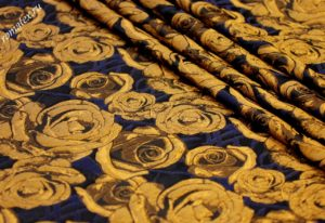 Ткань жаккард тафта «роза» цвет золото