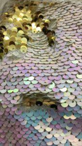 Ткань пайетки двухсторонние цвет перламутр/золото