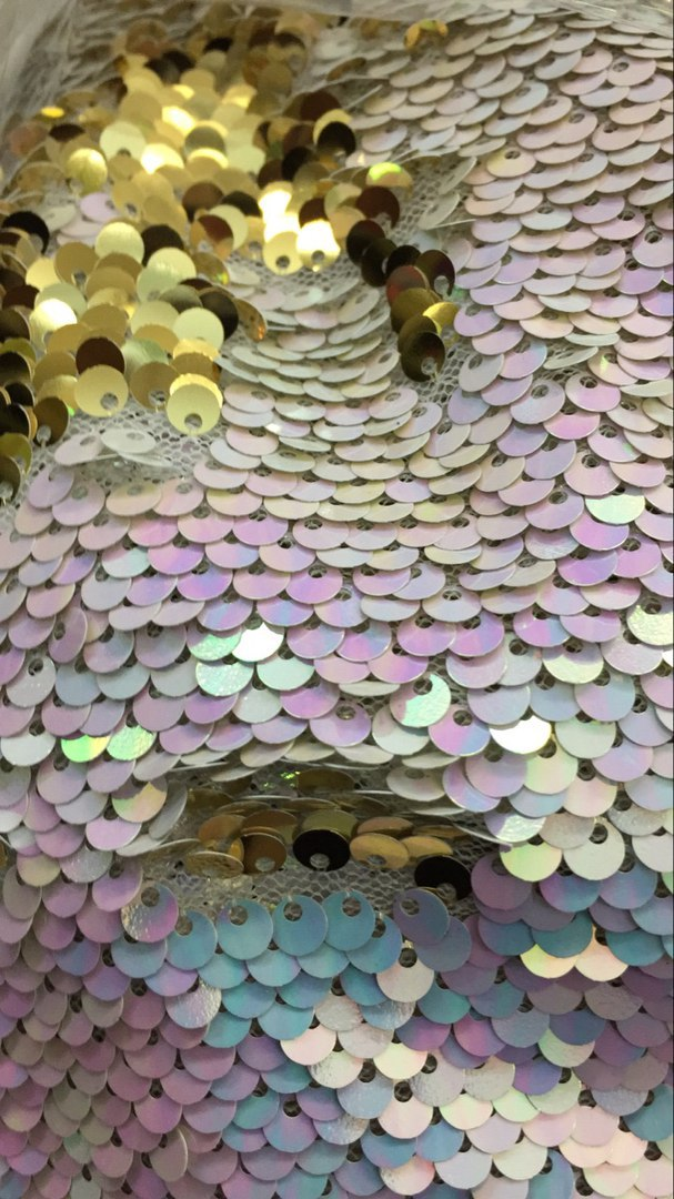 Пайетки двухсторонние цвет перламутр/золото