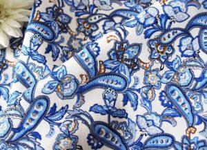 Ткань поплин пейсли цвет васильковый