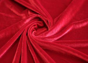 Швейная ткань бархат стрейч цвет красный