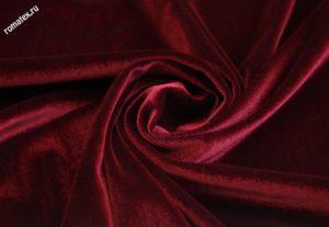 Ткань бархат стрейч цвет бордовый