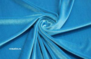 Обивочная ткань для дивана бархат стрейч цвет голубой