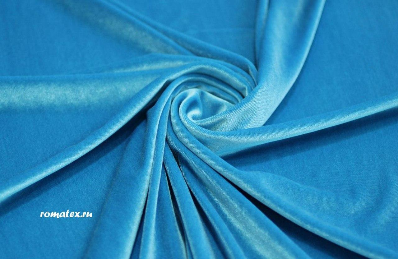 Ткань бархат стрейч цвет голубой