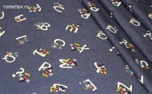 Ткань джинса микки тёмно-синий