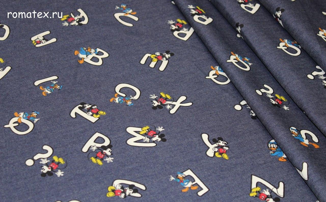 Ткань джинс микки тёмно-синий