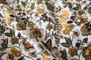 Ткань поплин русский узор цвет бежево-жёлтый