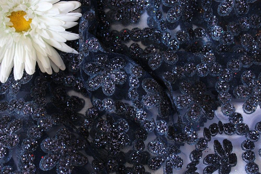 Ткань сетка валентино цвет тёмно-синий