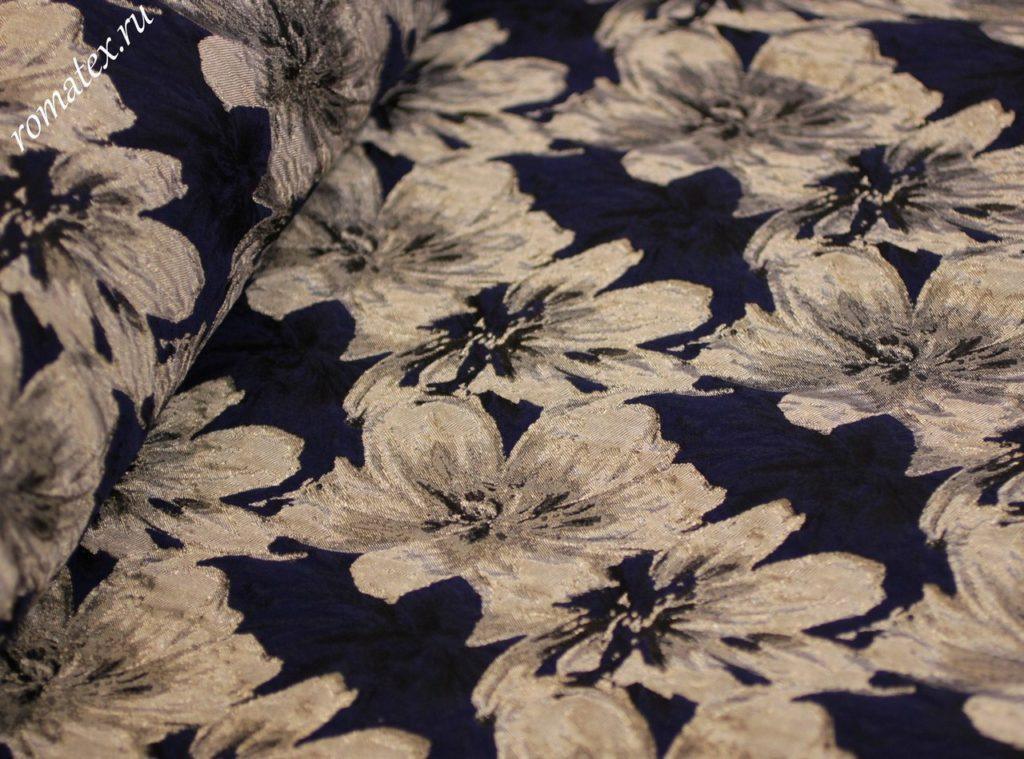 Ткань жаккард тафта «азалия» цвет темно-синий