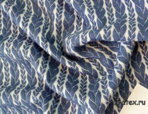 Ткань капитоний розочка цвет белый/джинс