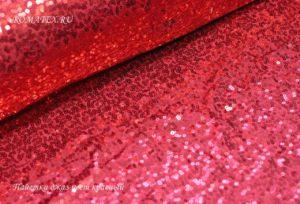 Ткань пайетки джаз на трикотаже цвет красный