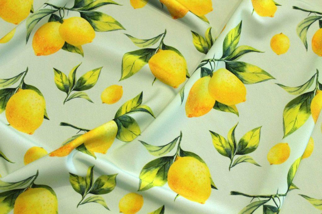 Ткань супер софт лимоны цвет мятный