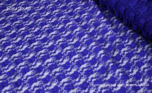 Ткань гипюр стрейч цветок цвет васильковый